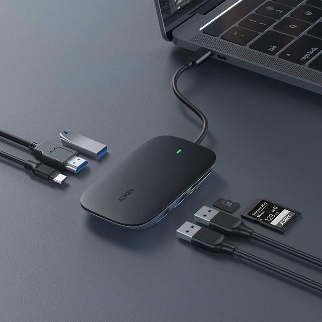 USB концентратор-разветвитель AUKEY Type C 7в1 алюминиевый