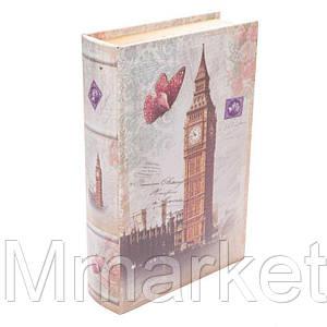 """Книга-сейф BST 490158 33×23×7 см разноцветная """"Лондон и бабочка"""""""