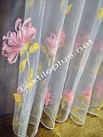 Тюль с розовым цветком остаток 3.7м.п., фото 1