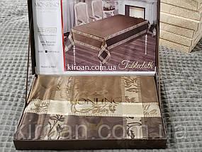 Святкова жакардова скатертина в подарунковій коробці Monfino 150х220см (поліестер + бавовна), фото 3
