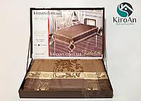 Праздничная жаккардовая скатерть в подарочной коробке Monfino 150х220см (полиэстер + хлопок), фото 1