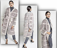 Пальто длинное из меха норки и кашемира, фото 1