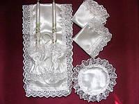Венчальный набор белого цвета , ткань структурная тафта