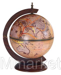 """Глобус бар настольный BST 480037 38×33×48 см коричневый """"Дальнее путешествие"""""""