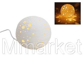 Лампа настольная декоративная  21см сфера, белая керамика 480154