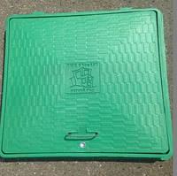 Люк полимерный квадратный, 1,5 т., с замком,полимерный, зеленый, 650х650 мм, фото 1