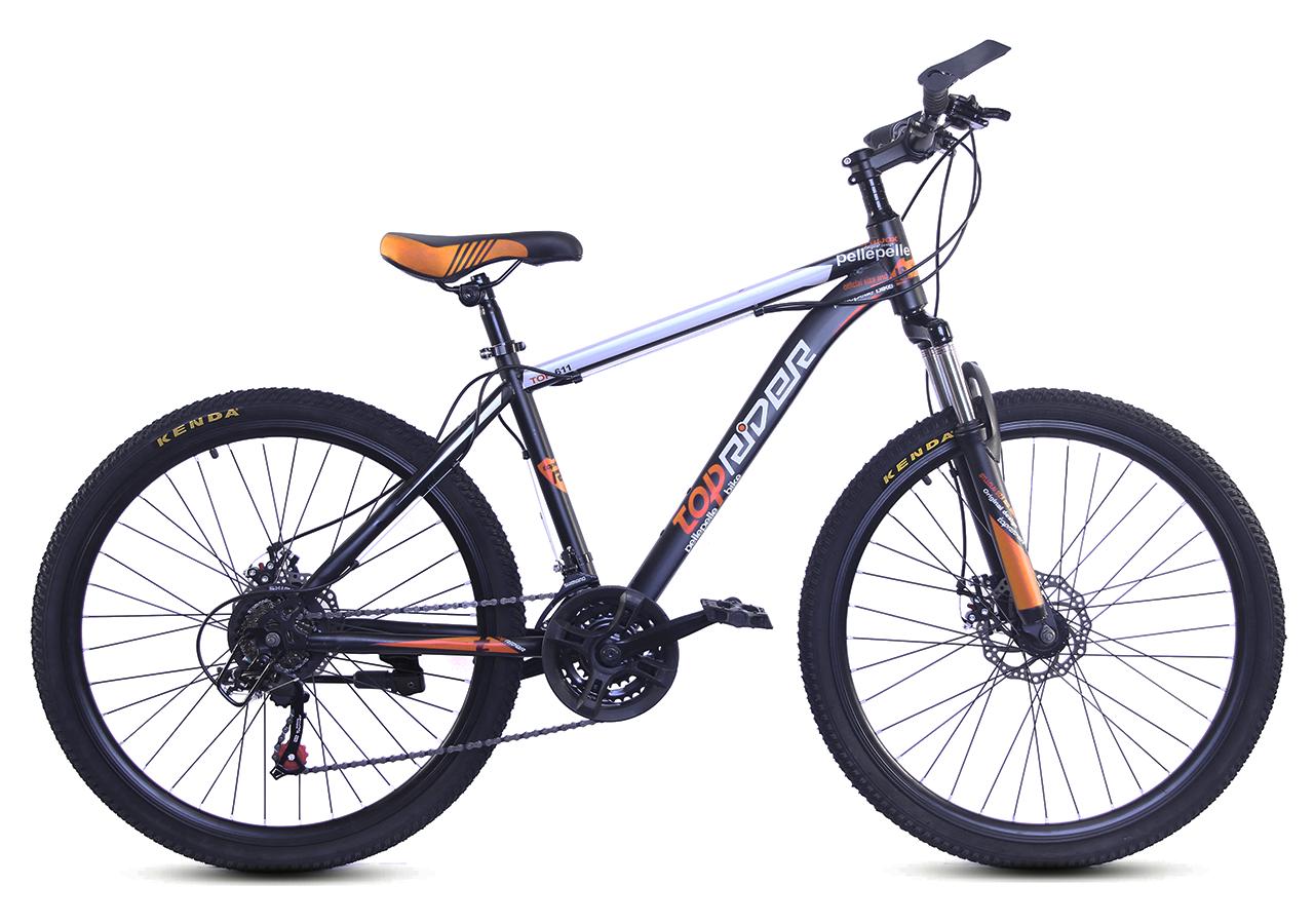 """Гірський велосипед TopRider 611 26"""" з дисковими гальмами, Чорно-помаранчевий"""