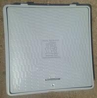 Люк полимерный квадратный,1,5т, с замком, серый, 650х650 мм