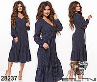 Повседневное женское платье в горошек с воланом по низу размеры S-L, фото 1