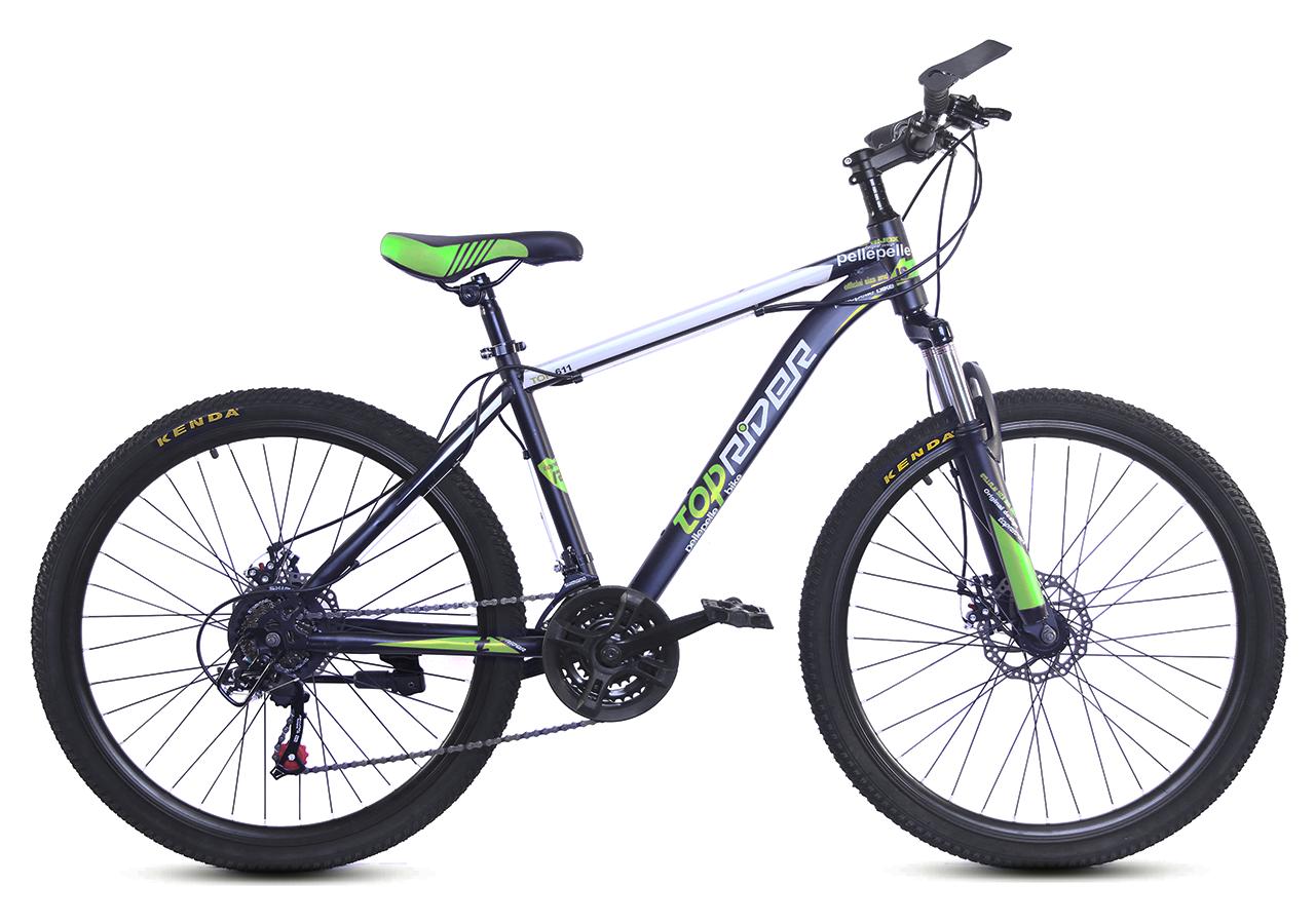 """Горный велосипед TopRider 611 26"""" с дисковыми тормозами, Черно-зеленый"""