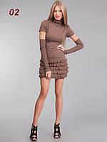 Платье рюш съемный рукав бежевое, фото 1
