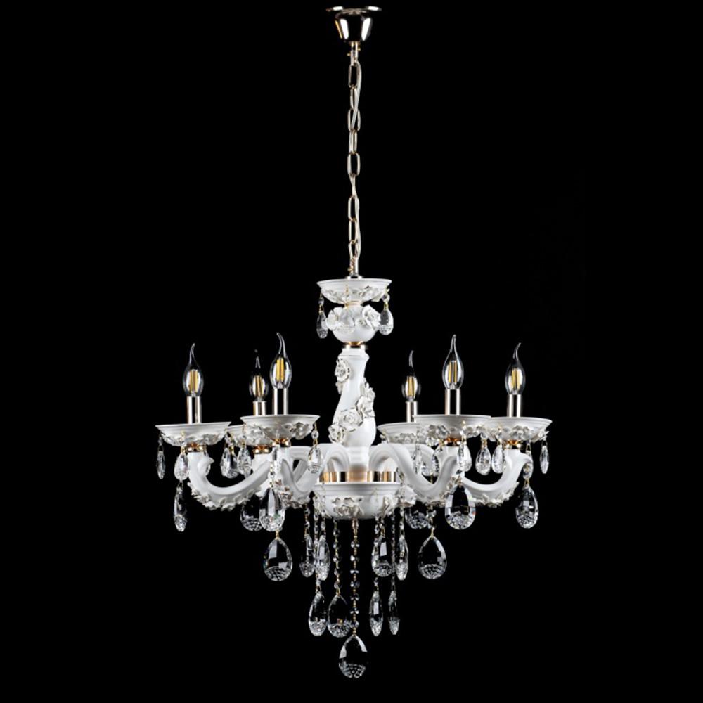 Керамическая люстра-свеча на 6 лампочек СветМира VL-1115/6 (белая с золотом)