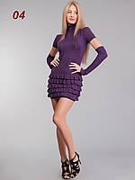 Платье рюш съемный рукав фиолетовое, фото 1