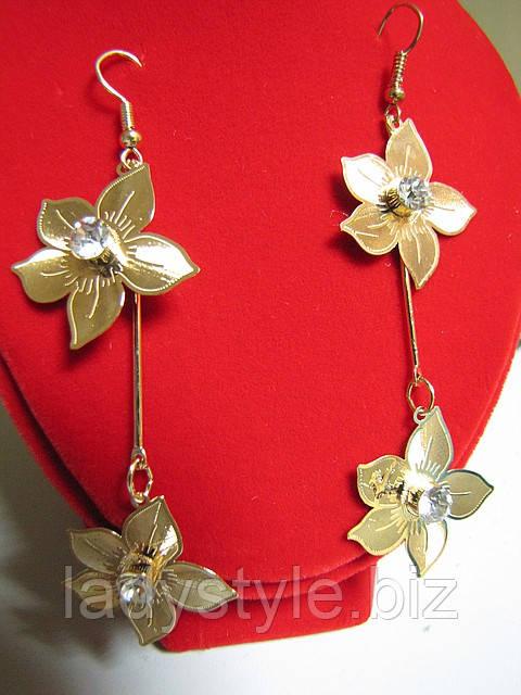 Серьги- подвески цветы с белыми кристаллами от Студии  www.LadyStyle.Biz, фото 1