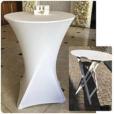 Стрейч чохол на стіл 80/110 Білий з щільної тканини Спандекс, фото 2