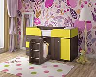 """Детская кровать чердак """"Карлсон"""" Венге темный + Желтый"""