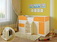 """Детская кровать чердак """"Карлсон"""" Молочный дуб+ оранжевый"""