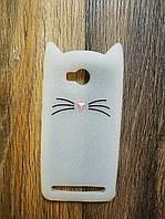 Объемный 3d силиконовый чехол для Huawei Y3ii Y3 ll Усатый кот белый