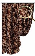 """Портьерная ткань блекаут Катрин """"Веточки"""" двухсторонняя, цвет темный шоколад-морозный беж (двусторонняя)"""