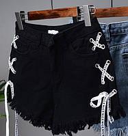 Шорты джинсовые черные со шнуровкой