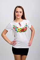 Женская вышитая футболка. Западный мак, белая