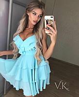 Пышное романтичное иочень красивое платье из воздушного двойного шифона РАЗНЫЕ ЦВЕТА