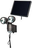 Прожектор светодиодный на солнечной батарее SOL 2x4 с датчиком движения; IP44; 8 светодиодов; 0,5Вт; 300 люмен
