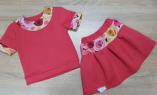 Яркий костюм для девочки с футболкой и юбкой Розы красного цвета 92-120 р