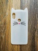 Объемный 3d силиконовый чехол для Xiaomi Redmi Note 6 Pro Усатый кот белый