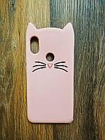 Объемный 3d чехол для Xiaomi Redmi Note 6 Pro Усатый кот розовый