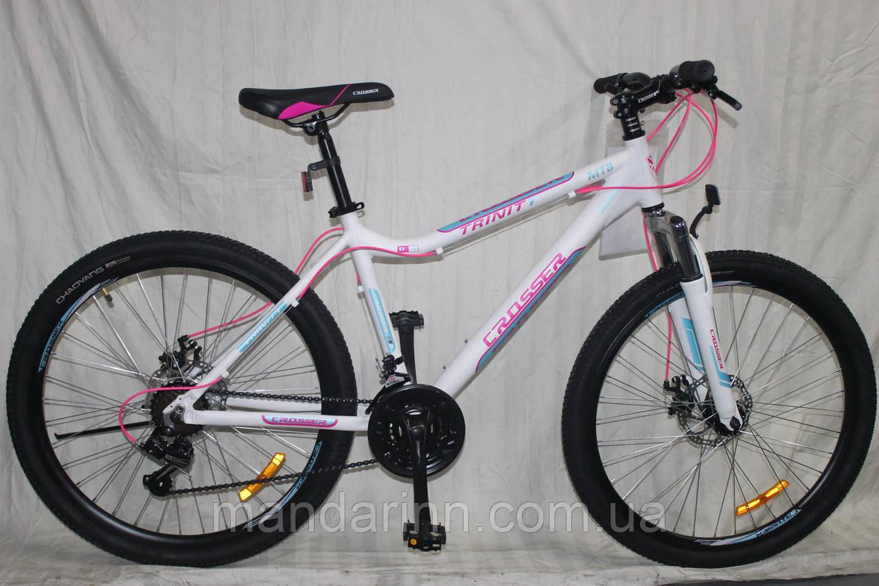 Спортивный Алюминиевый велосипед Crosser Trinity 26 дюймов. Белый.
