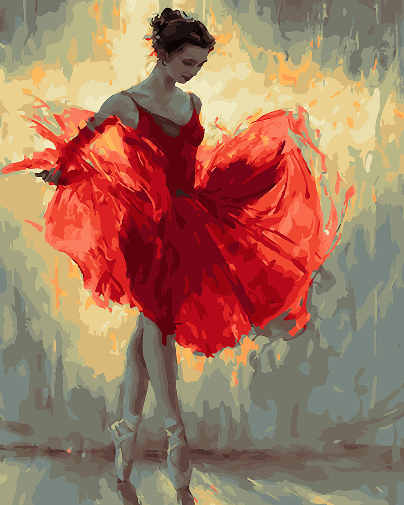 Картина по номерам Балерина в красном, 40x50 см., Rainbow art