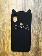 Объемный 3d силиконовый чехол для Xiaomi Redmi Note 6 Pro Усатый кот черный