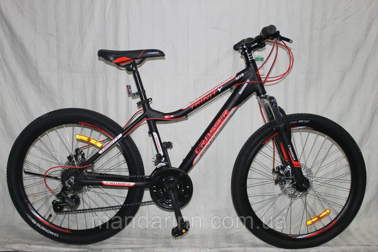 Спортивный Алюминиевый велосипед Crosser Trinity 26 дюймов. Черно-красный.