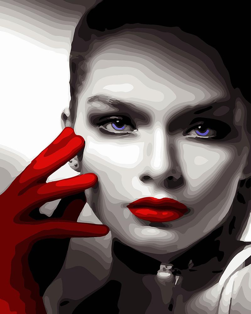 Картина по номерам Леди в алых перчатках, 40x50 см., Rainbow art