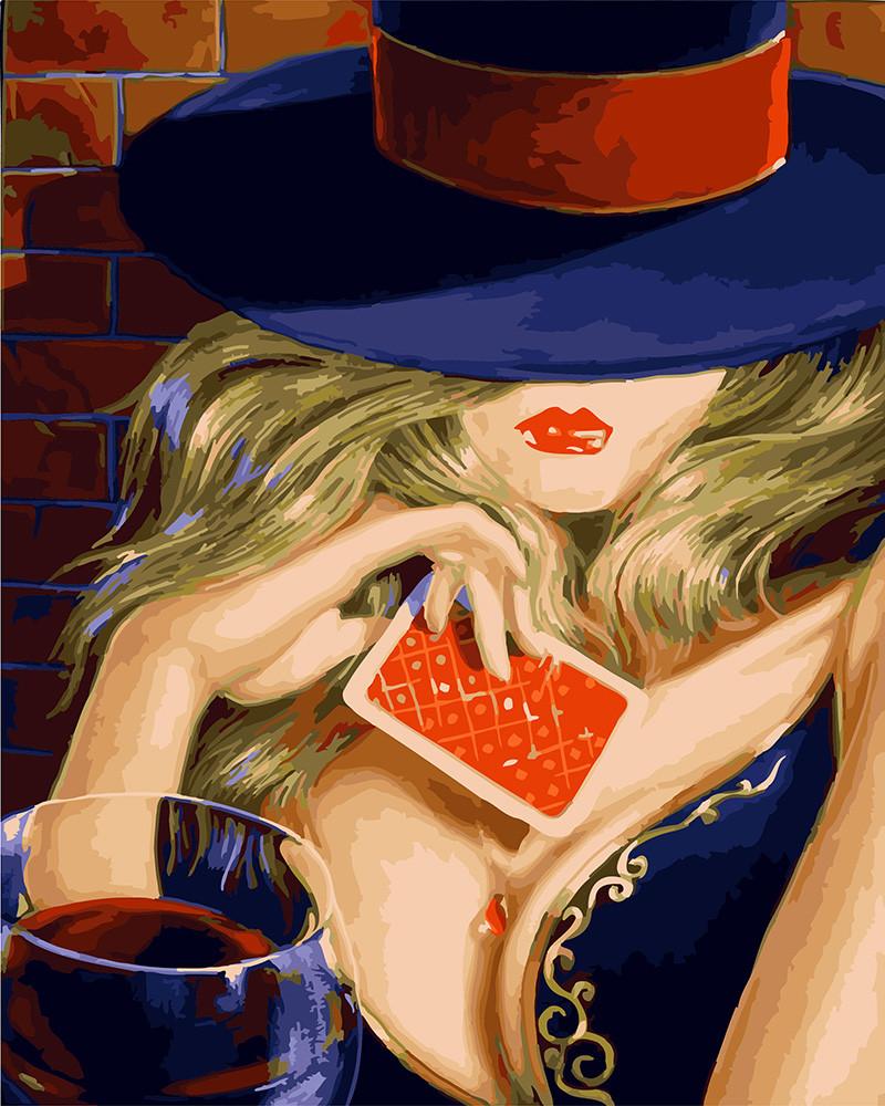 Картина по номерам Девушка с игральной картой, 40x50 см., Rainbow art