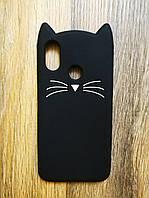 Объемный 3d чехол для Xiaomi Mi 8 Усатый кот черный