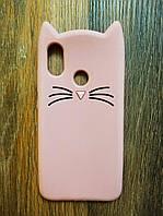 Объемный 3d силиконовый чехол для Xiaomi Mi 8 Усатый кот розовый