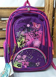 Школьный ортопедический рюкзак для девочек с плотного непромокаемого материала, S-образные лямки, 6 отделов