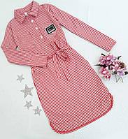 Платье-рубашка с затяжкой на девочку, р. 134-152, красный, фото 1