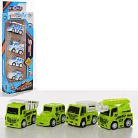 Набір транспорту, 4 машинки, інерційні, 2 види (1вид-поліція, 1вид-ферма), в коробці, 30-9,5-4 см
