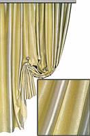 Портьерная ткань блекаут вериткальная широкая полоса двусторонняя, светло-желтый