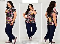 Літній костюм жіночий вільного стилю, з 54-64 розмір, фото 1