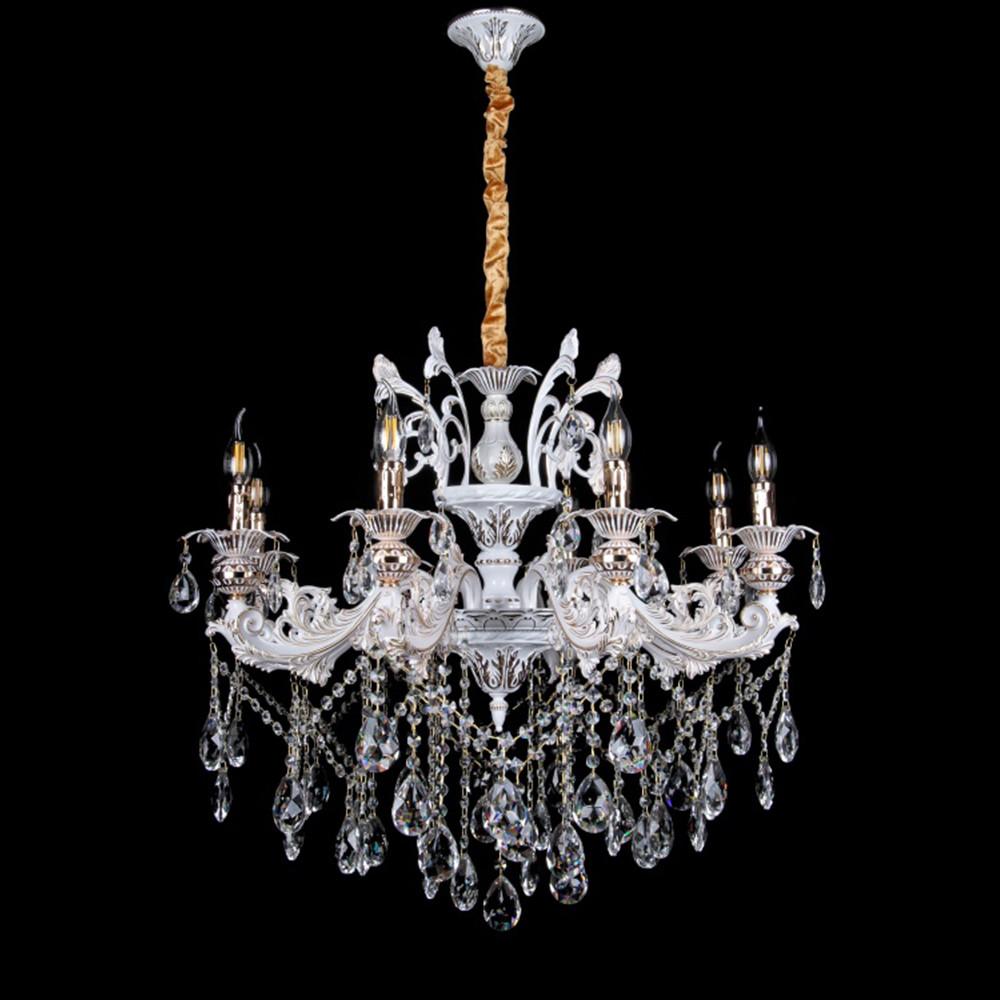 Классическая люстра-свеча на 8 лампочек СветМира VL-29132/8 (белая с золотом)