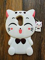 Объемный 3d силиконовый чехол для Huawei Honor 6a Кошечка белая