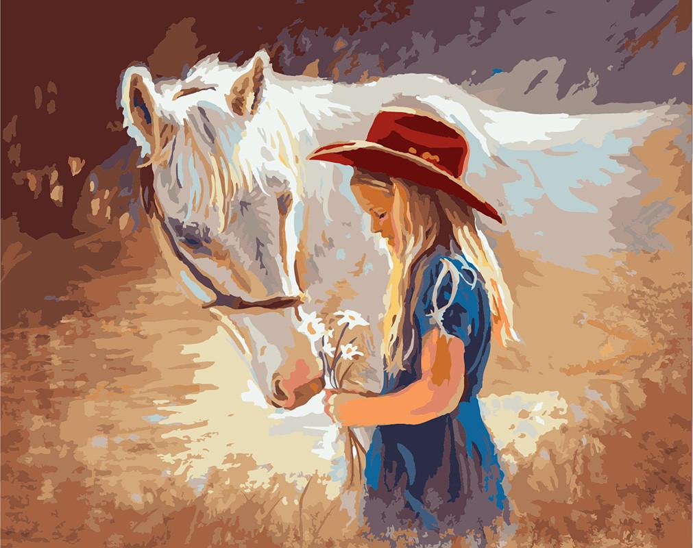 Картина по номерам Девочка с белой лошадью, 40x50 см., Rainbow art