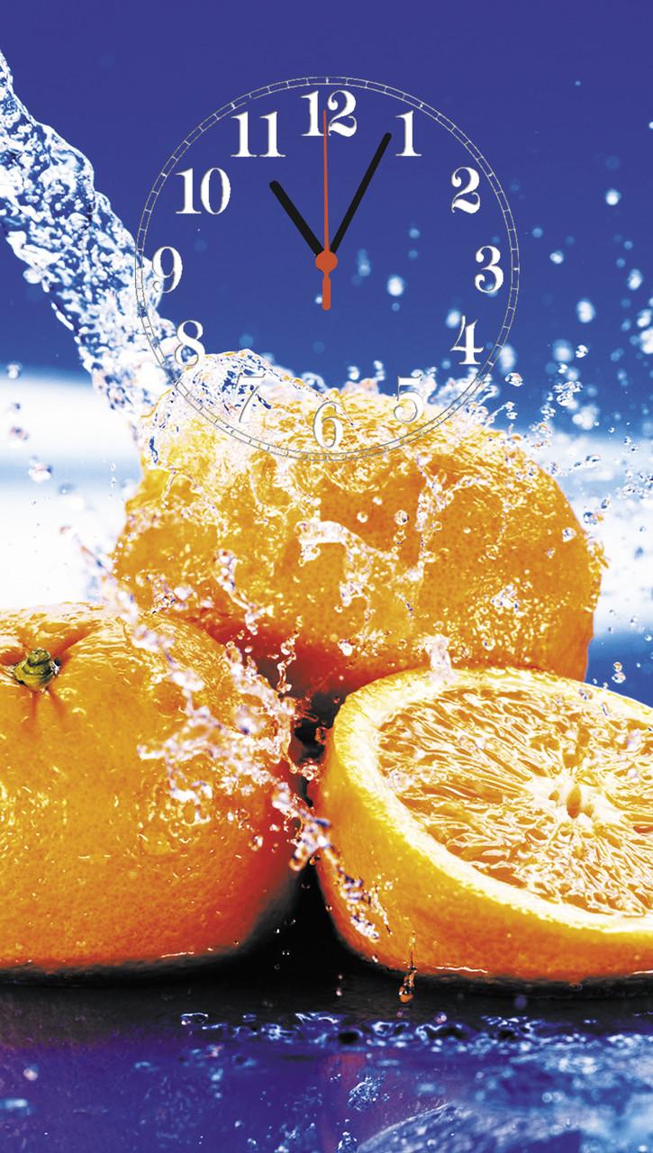 """Часы настенные стеклянные """"Апельсин и вода"""""""