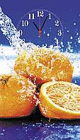 """Часы настенные стеклянные """"Апельсин и вода"""", фото 1"""