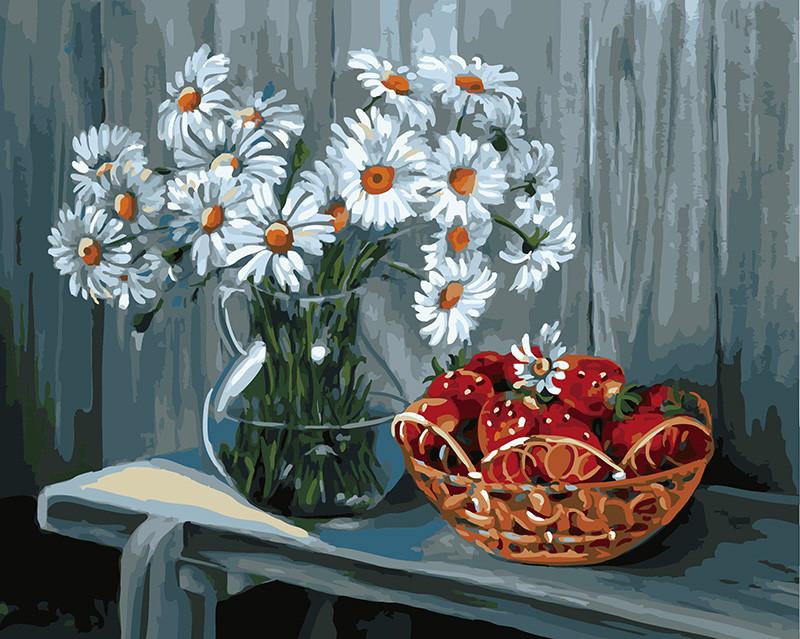 Картина по номерам Ромашки и клубника, 40x50 см., Rainbow art