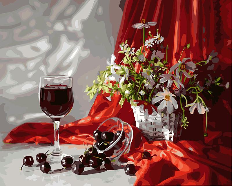 Картина по номерам Вино и вишни, 40x50 см., Rainbow art